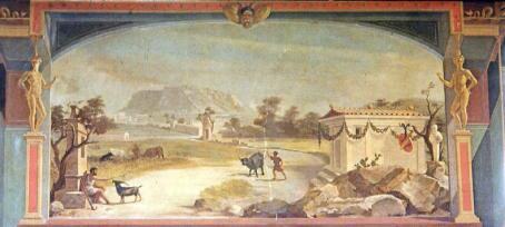 Τοιχογραφία από το εσωτερικό τού Μεγάρου Σερπιέρη