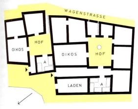 Κάτοψη οικίας στην κλασική Αθήνα. Διακρίνονται ο οίκος και ο ανδρών (Α)