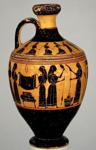 Λήκυθος, περίπου το 530-550 π.Χ. Αποδίδεται στον ζωγράφο τού Άμαση. Metropolitan Museum of Art 31.11.10
