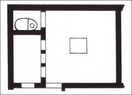 Όλυνθος, ιδιωτική οικία. Πίσω από την κουζίνα βρέθηκε μικρός χώρος λουτρού.