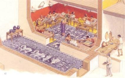 Όλυνθος, αναπαράσταση ανδρώνα. Από τον 4ο αιώνα π.Χ., υιοθετεί τον τύπο της παστάδος. Οι ανδρώνες μπορούν πλέον να διακοσμούνται με πολυτέλεια.