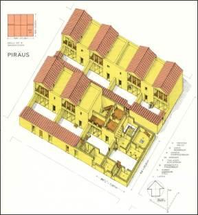 Προστάδα, το παραδοσιακό σχήμα τού χώρου με άνοιγμα στη στενή του πλευρά, Πειραιάς, 5ος αιώνας π.Χ. Αναπαράσταση.