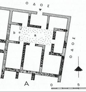 Κάτοψη τής οικίας Α στην Αθηναϊκή Αγορά, 5ος αιώνας π.Χ. Σχέδιο Ι. Τραυλος, 1958.