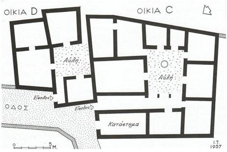 Κατόψεις των οικιών C και D τού 5ου αιώνα π.Χ., που αποκαλύφθηκαν προς δυσμάς τού λόφου Αρείου Πάγου. Σχέδιο Ι. Τραυλός 1957.