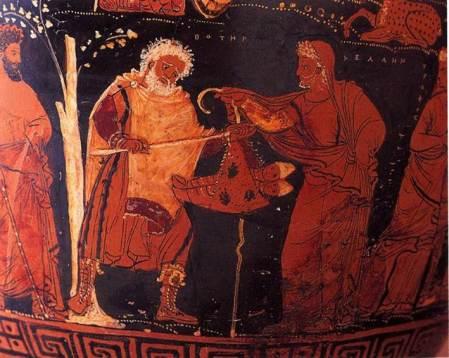 Ερυθρόμορφος Απουλικός ελικωτός κρατήρας, λεπτομέρεια, ο Αίολος και ο Βοιωτός, παιδιά τού Ποσειδώνα, παραδίδονται φασκιωμένα σε βοσκό, για να εκτεθούν, περ. 330 π.Χ., M.C. Carlos Museum, Emory University αριθ. 1994.1, Ατλάντα