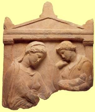 Επιτύμβια στήλη, βρέφος δίνεται στη [νεκρή] μητέρα, 4ος αιώνας π.Χ., Houston.