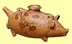 Πήλινο θήλαστρο σε σχήμα γουρουνιού από τη Σικελία, (περ. 450 π.X.), Mουσείο Tεχνών Kλήβελαν