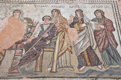 Οι τρεις Μοίρες, η Κλωθώ, η Λάχεσις και η Άτροπος, ψηφιδωτό, λεπτομέρεια, 4ος αιώνας μ.Χ., Πάφος