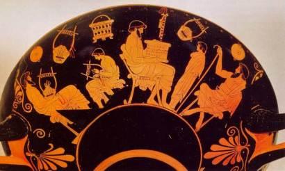 Κύλικα τού Δούρι, Σκηνή σχολείου, 490-480 π.Χ. Βερολίνο, Staatliche Museen Preussischer Kulturbesitz, Antikensammlung