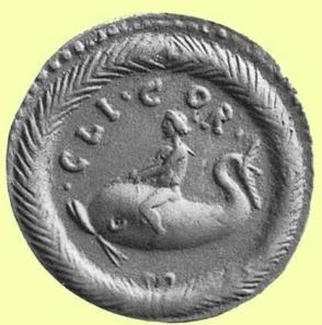 Ο Μελικέρτης πάνω σε δελφίνι, νόμισμα 2ου αιώνα μ.Χ.