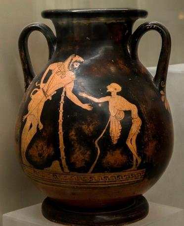 Ερυθρόμορφη πελίκη, 500-450 π.Χ., ο Ηρακλής με λεοντή στηρίζεται σε ρόπαλο, απέναντί του το Γήρας, σώζεται η επιγραφή ΚΛΑΥΣΕΙ, Ρώμη, Villa Giulia, Museo Nazionale Etrusco