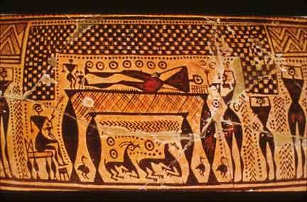 Αττικός αμφορέας, 740-730 π.Χ., σκηνή πρόθεσης νεκρού, Αθήνα, Εθνικό Αρχαιολογικό Μουσείο.