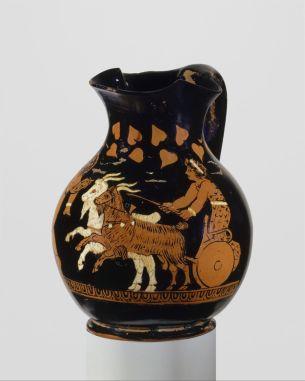 Ερυθρόμορφη οινοχόη, αγόρι οδηγεί άρμα με κατσίκες, 400 π.Χ., The Metropolitan Museum of Art.
