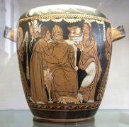 Πιξίδα με μια σκηνή προετοιμασίας για το γάμο. , 330-320 π.Χ. Πηλός, βερνίκι, λευκό, μπλε, κίτρινο χρώμα, Μουσείο Πούσκιν, Μόσχα