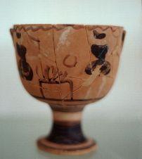 Κρατηρίσκος, 500 π.Χ., γυναίκες γύρω από αναμμένο βωμό, Αρχαιολογικό Μουσείο Βραυρώνας.