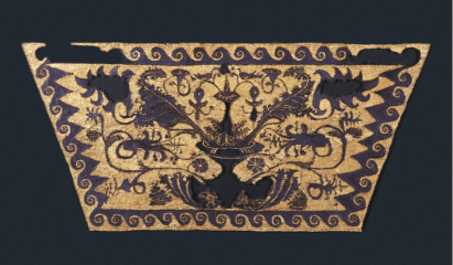 Χρυσοπόρφυρο ύφασμα από τη λάρνακα της Μήδας, θρακιώτισσας συζύγου του Φιλίππου Β΄.