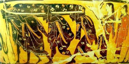 Μόνωτος κάνθαρος, αρχές 5ου αιώνα, εκφορά νεκρού, Παρίσι, Εθνική Βιβλιοθήκη.