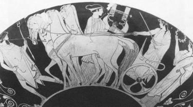 Ερυθρόμοφη κύλικα, 460-450 π.Χ., γαμήλια πομπή, ο προηγητής, το άρμα και ο κιθαριστής, Βερολίνο, Staatliche Museen, F 2350
