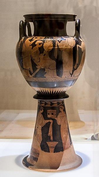 Γαμικός λέβης, 460-450 π.Χ., η νύφη δέχεται δώρα, Μουσείο Λούβρου