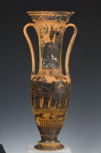 Αττική μελανόμορφη λουτροφόρος, στον λαιμό: θρήνος στο μνήμα και πομπή γυναικών, Αθήνα, Εθνικό Αρχαιολογικό Μουσείο.