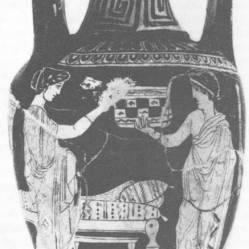 Aνδρική, ερυθρόμορφη λουτροφόρος, περ. 420 π.Χ., ο γαμπρός υποδέχεται τη νύφη στην κλίνη με δώρα, Würzburg.