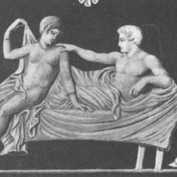 Μυροδοχείο, 4ος αι. π.Χ., ο γαμπρός στην κλίνη της νυφικής παστάδας.
