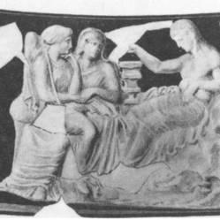 Μυροδοχείο, 4ος αιώνας π.Χ., νύφη ντροπαλή στα γόνατα της νυμφεύτριας