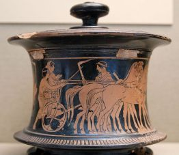 Ερυθρόμορφη πυξίδα, 440-430 π.Χ., γαμήλια πομπή, η νύφη οδηγείται πάνω σε άρμα στο σπίτι του γαμπρού, Βρετανικό Μουσείο.
