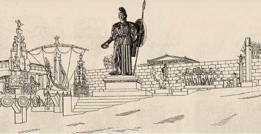 Φανταστική αναπαράσταση του αγάλματος της Αθηνάς Προμάχου στην Ακρόπολη.