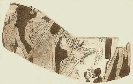 Η ΔΗΜΗΤΡΑ σε θρόνο με το παιδί ΙΑΚΧΟ στα γόνατα. Κρατήρας στην Οξφόρδη, 4ος π.Χ. αι.