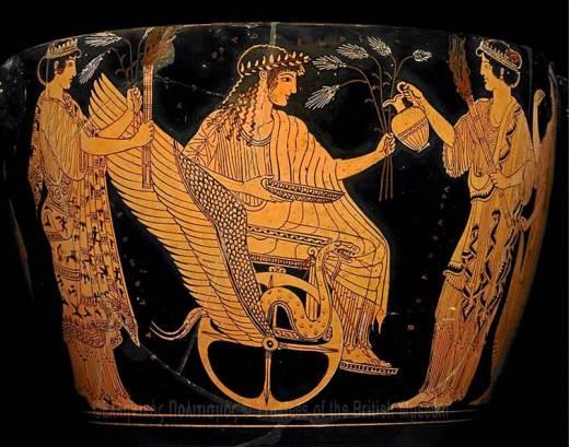 Αττικές αγγειογραφίες του 5ου π.Χ. αιώνα. Οι θεές της Ελευσίνας αποστέλλουν τον Τριπτόλεμο πάνω σε φτερωτό άρμα να διαδώσει στον κόσμο την καλλιέργεια του σίτου.