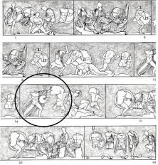 Ανατολική ζωφόρος ναού του Ηφαίστου ('Θησείου') Μεταξύ των μαχομένων αναγνωρίζεται το ζεύγος Ερεχθέως - Ευμόλπου