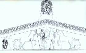 Ανατολικό αέτωμα του ναού του Ποσειδώνα στο Σούνιο