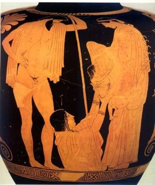 Η Γη παραδίδει τον Εριχθόνιο στην Αθηνά. Αττική στάμνος, Μόναχο 460 π.Χ.