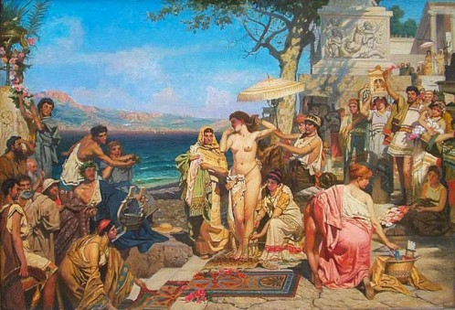 Η Φρύνη κατά τα Ποσειδώνια στην Ελευσίνα. Πίνακας του Henryk Siemiradzki(1843–1902)