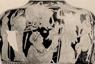 Η ΓΑΙΑ παραδίδει μέσα σε κέρας αφθονίας τον ΠΛΟΥΤΟ στη Δήμητρα. Κωνσταντινούπολη, υδρία, 5ος π.Χ. αι.