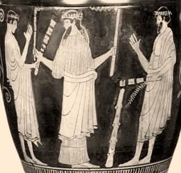 Ηρακλής και Ιόλαος (;) μυούνται στα Μυστήρια Σκύφος στις Βρυξέλλες, περί το 460 π. Χ.