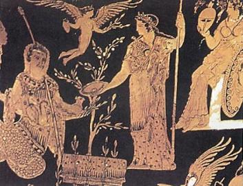 Προσφορές του Κέκροπα και της Αθηνάς στην κίστη όπου βρίσκεται ο Εριχθόνιος. Ερυθρόμορφος καλυκωτός κρατήρας από τη Σικελία, 410 π.Χ., Adolphseck