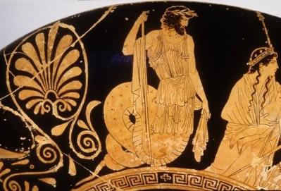 Ο Κέκροψ παρίσταται στην παράδοση του Εριχθονίου από τη Γη στην Αθηνά. Αττική κύλικα, 440 π.Χ., Βερολίνο