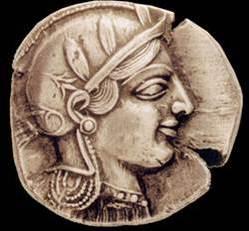 Λαυρεωτική γλαυξ: Αργυρό αθηναϊκό τετράδραχμο, 5ος π.Χ. αιώνας, εμπροσθότυπος