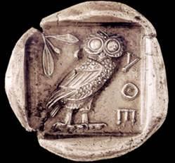 Λαυρεωτική γλαυξ: Αργυρό αθηναϊκό τετράδραχμο, 5ος π.Χ. αιώνας, οπισθότυπος