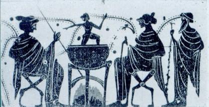 16γ. Θείο παιδί βγαίνει μέσα από λέβητα με ζέον ύδωρ, μελανόμορφη λήκυθοσ, πρώιμος 5ος π.Χ. αι., Leiden
