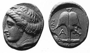 49α. Νόμισμα της Απολλωνίας του Πόντου με την κεφαλή του Απόλλωνος Ιατρού, 5ος π.Χ. αιώνας, ΒΜ