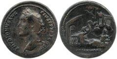 48α. Ρωμαϊκό νόμισμα, εικονίζεται ο Antoninus Pius (εμπροσθότυπος) και ο Ασκληπιος (οπισθότυπος), 2ος μ.Χ. αιώνας, ΒΜ
