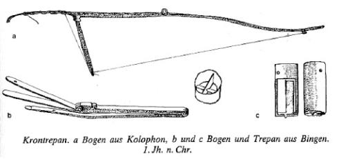 32. Τρυπάνι σε σχήμα στέμματος από την Κολοφώνα στη Βαλτιμόρη και δοξάρι τρυπανιού και τρυπάνι στο Bingen, 1ος μ.Χ. αιώνας